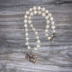 Jewelry - Real Pearl Sterling Silver Heart Necklace
